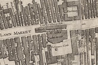 Old Tolbooth, Edinburgh - The tolbooth shown on a town plan drawn in Arnot's time (1784). It stands on the left of the adjoining row of shops known as the Luckenbooths.