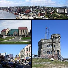 Boppe - Stedssilûet St. John's, Links midden- The Rooms, Links ûnder - Water Street, Rjochts - Cabot Tower