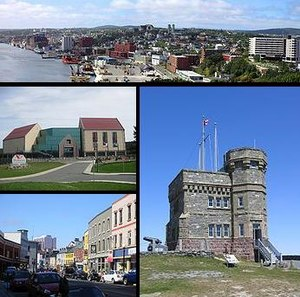 Top - St. John's Skyline, Middle left - The Rooms, Bottom left - Water Street, Right - Cabot Tower
