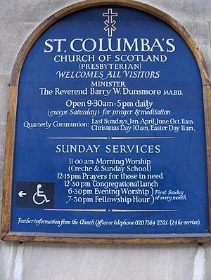St Columba's Church, London - Church noticeboard