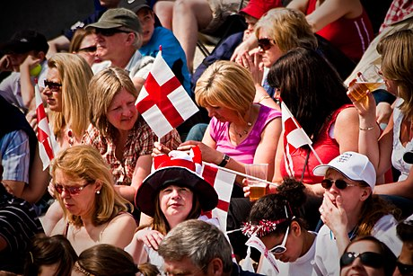 A crowd celebrates Saint George's Day at an event in Trafalgar Square in 2010. St George's Day 2010 - 14.jpg