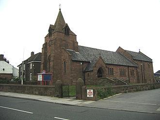 Broach spire - Image: St John's, Weston