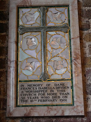 Dryden baronets - Memorial to his wife, St Mary's, Putney, London