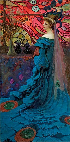Secession (art) - Kazimierz Stabrowski, Peacock (1908), National Museum, Warsaw. An example of Polish secessionist art, highly decorative, symbolical composition that seem fantastic combined with elements of Art Nouveau.