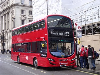London Buses route 53 - Stagecoach London Wright Eclipse Gemini 3 bodied Volvo B5LH on Whitehall in May 2014