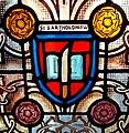 Stained glass window ca. 1900 showing flaying knife, symbol of St. Bartholomew.jpg