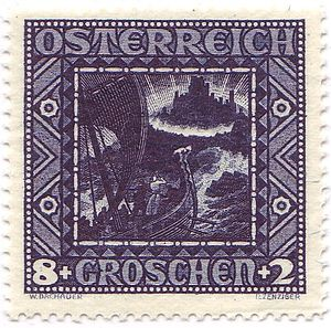 Wilhelm Dachauer - The award-winning stamp of the Nibelungen-set,1926, Austria Nr.489.