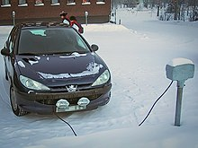 The Car S Block Heater Is Plugged Into An Electrical Outlet