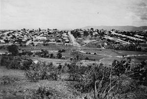 Greenslopes, Queensland - Steven's Hill, Greenslopes, looking towards Junction Park School, 1940s