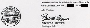 Sherrod Brown - Brown's signature on an official document from his office as Secretary of State of Ohio, 1990.
