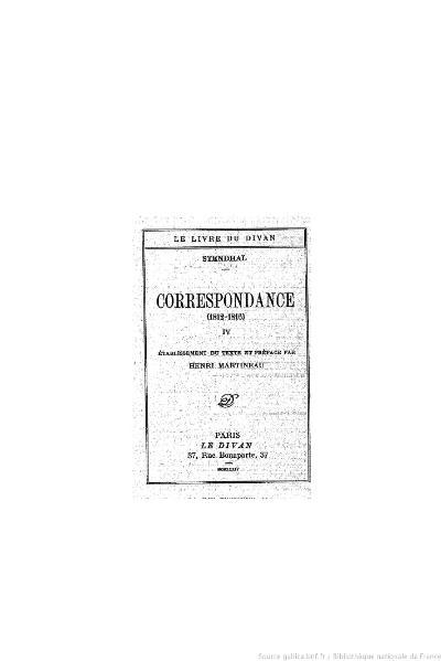 File:Stendhal - Correspondance, IV, 1934, éd. Martineau.djvu