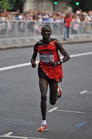 Athletics at the 2012 Summer Olympics – Men's marathon - Image: Stephen Kiprotich at the London 2012 Men's Olympic Marathon, 12 August 2012