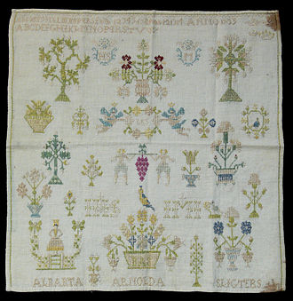 Cross-stitch - Cross-stitch sampler, Germany