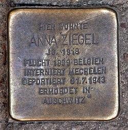 Photo of Anna Ziegel brass plaque