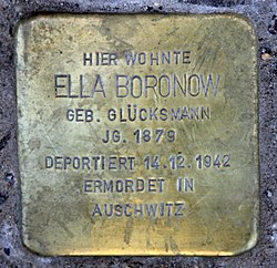 Photo of Ella Boronow brass plaque