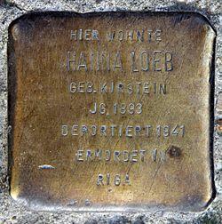 Photo of Hanna Loeb brass plaque