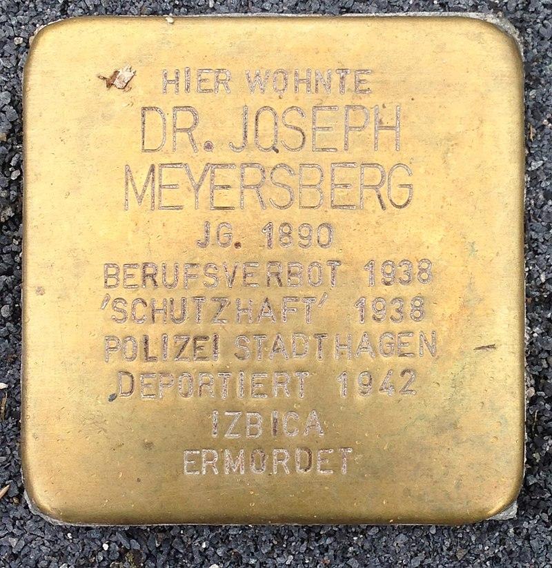 Stolperstein Obernkirchen Vehlener Straße 61 Joseph Meyersberg