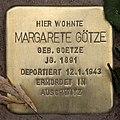 Stolperstein Pariser Str 11 (Wilmd) Margarete Götze.jpg