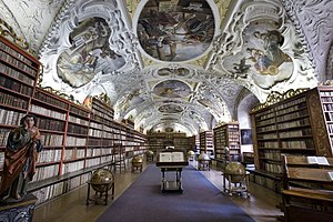 Strahov Monastery - The Theological Hall with stucco decoration and paintings from 1720s