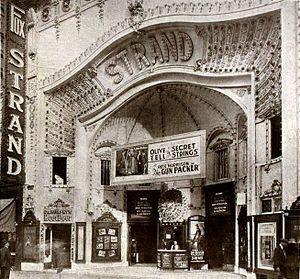 The Gun Packer - Strand Theater in Denver, Colorado, showing the films Secret Strings (1918) and The Gun Packer