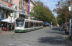 Trams in Augsburg - A Siemens Combino in Augsburg, 2007.