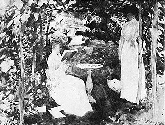 """Katharine Peabody Loring - Katharine (reading) and Louise Loring in Study in Greens, by John Singer Sargent, inscribed """"To my friend Miss Louisa Loring, Prides Crossing, October, 1917."""" The original was destroyed by a fire in 1969."""