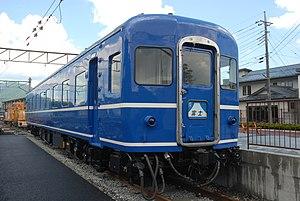 Hokuriku (train) - SuHaNeFu 14-20 preserved next to Shimoyoshida Station, July 2011