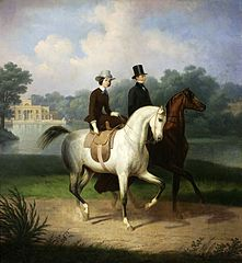 Equestrian portrait of the Schossland spouses.