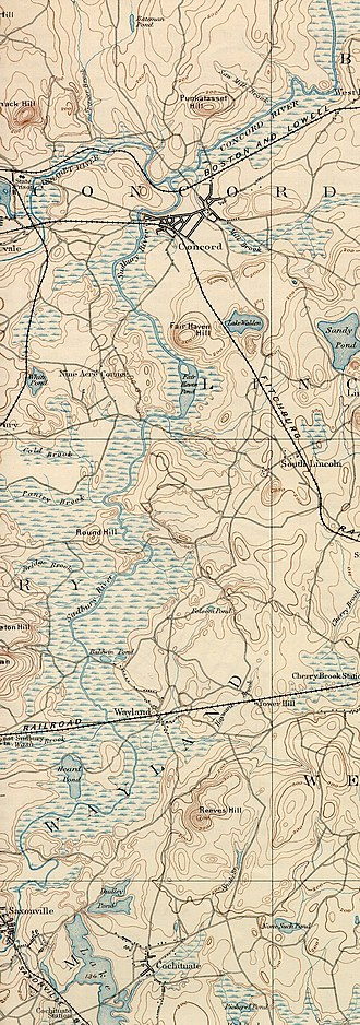 Sudbury River - Sudbury River, lower section, from the 1894 USGS Framingham, Mass. quadrangle)
