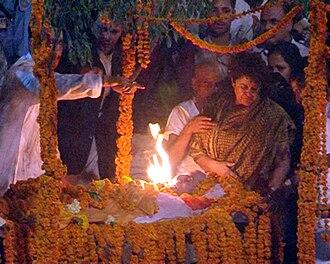 Girija Prasad Koirala - Sujata Koirala at funeral of Girija Prasad Koirala.