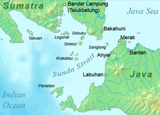 1883 eruption of Krakatoa - Map of the vicinity of Krakatoa and the Sunda Strait.
