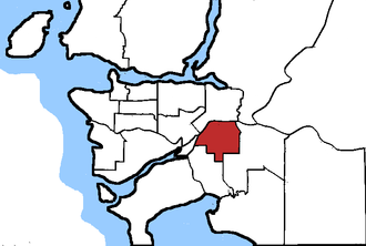 Surrey North - Surrey North in relation to other federal electoral districts in Vancouver