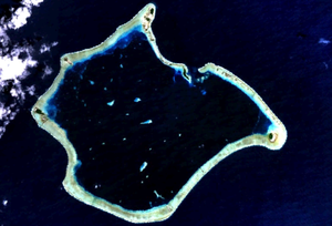 Suwarrow - Satellite image of Suwarrow. Anchorage Island is immediately west of the lagoon's entrance