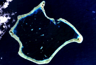 Suwarrow - Satellite image of Suwarrow. Anchorage Island is immediately west of the lagoon's entrance