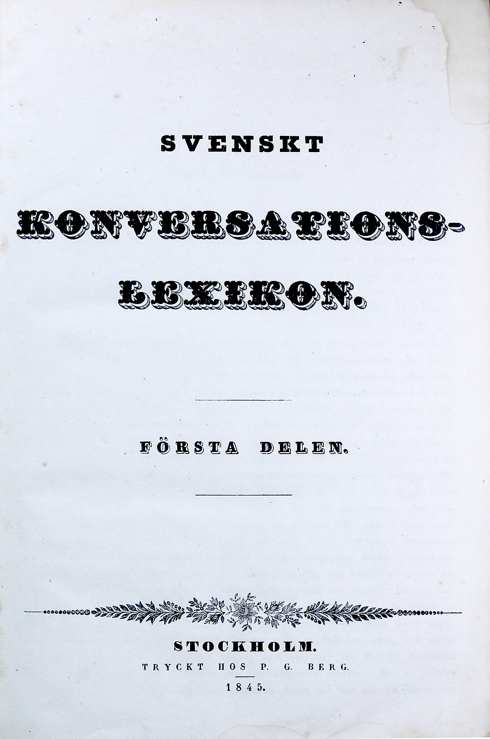 Svenskt konversationslexikon 1845 titelsida
