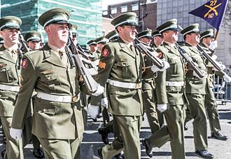 Easter Rising centenary parade - Personnel of the Irish Army carrying Steyr AUG assault rifles