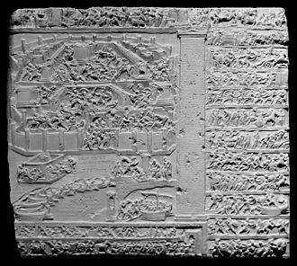 "Stesichorus - A scene from the Tabula Iliaca, bearing the inscription ""Sack of Troy according to Stesichorus"""