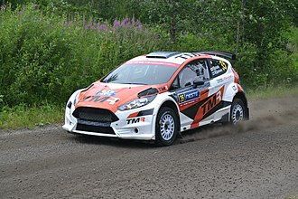 Ford Fiesta R5 - A Fiesta R5 driven by Takamoto Katsuta and Marko Salminen at the 2017 Rally Finland