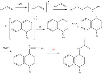 Tametraline - one-pot synthesis of 1-amino-4-aryl-tetralin derivatives by the CAN-induced cyclodimerization of various styrenes in acetonitrile and acrylonitrile