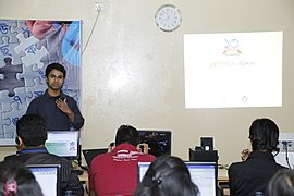 Tanweer Morshed in Bangla Wikipedia Workshop at CIU (01).jpg