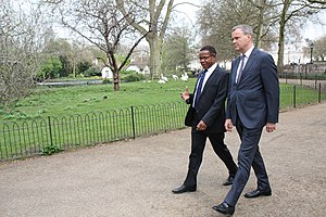 Bernard Membe - Membe with Mark Simmonds at St. James's Park in London.