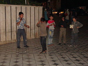 Children's street culture - Young boys playing in a sidewalk, 2013, Tehran
