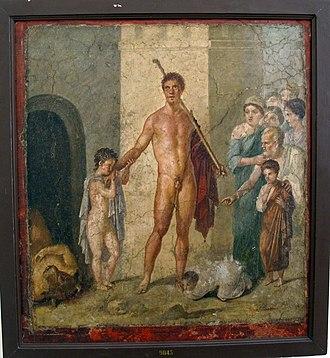 Arianna in Creta - Teseo after killing the Minotaur, Roman wall painting