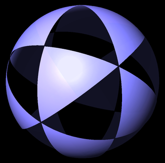 Uniform star polyhedron - (3 3 2) triangles on sphere