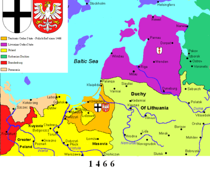The Teutonic Order (orange) following the Second Peace of Thorn (1466) Teutonic state 1466.png