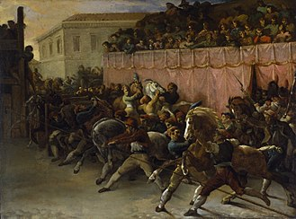 Carnival - Riderless Racers at Rome by Théodore Géricault. From the mid-15th century until 1882, spring carnival in Rome closed with a horse race. Fifteen to 20 riderless horses, originally imported from the Barbary Coast of North Africa, ran the length of the Via del Corso, a long, straight city street, in about 2½ minutes.