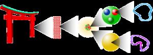 Levels of magnification: Macroscopic level, molecular level, atomic level, subatomic level, string level.