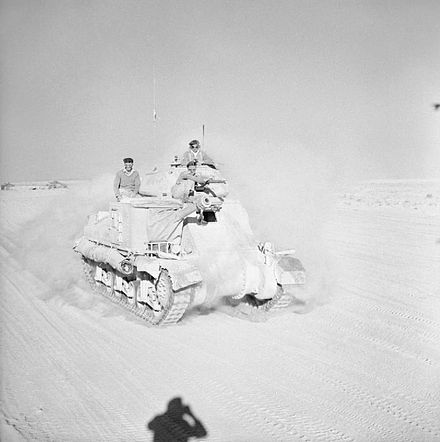 British Grant tank moving up to the front, 29 October 1942 The British Army in North Africa 1942 E18684.jpg
