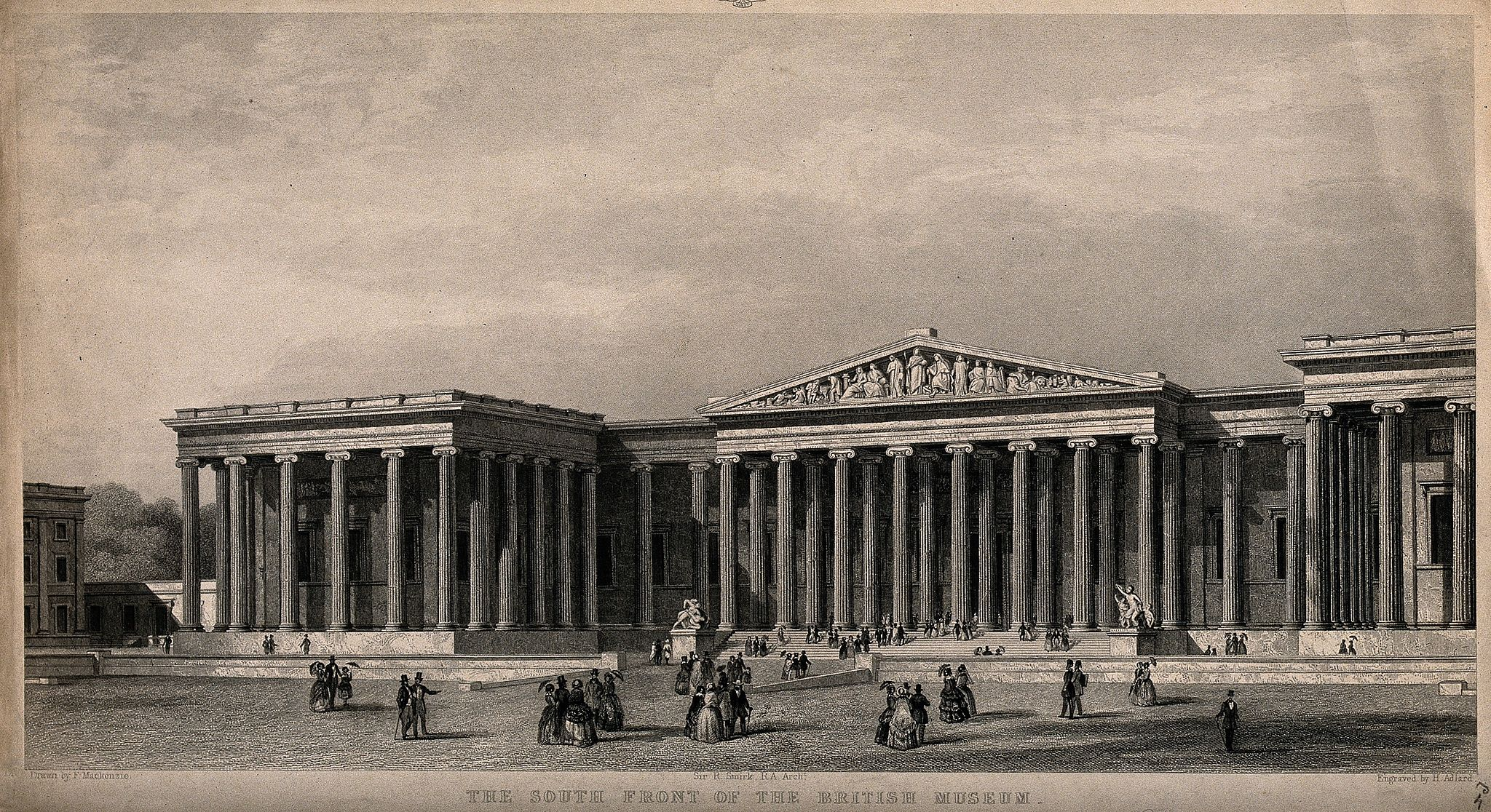 The British Museum; the entrance facade as built. Engraving Wellcome V0013532
