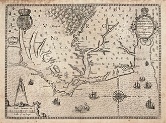 History of North Carolina - Map of the coast of Virginia and North Carolina, drawn 1585–1586 by Theodor de Bry, based on map by John White of the Roanoke Colony